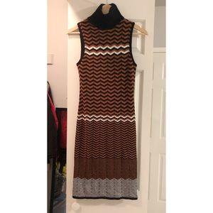 Bar III high neck knit midi sleeveless dress